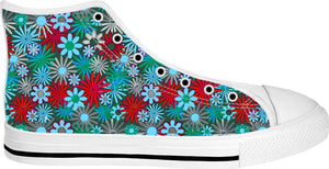 Red and Blue Green Daisies High Tops