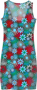 Red and Blue Green Daisies Dress