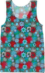 Red and Blue Green Daisies Tank Top