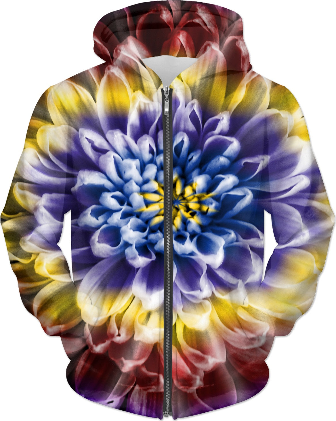 Rainbow Chrysanthemum Womens Zip Hoodie