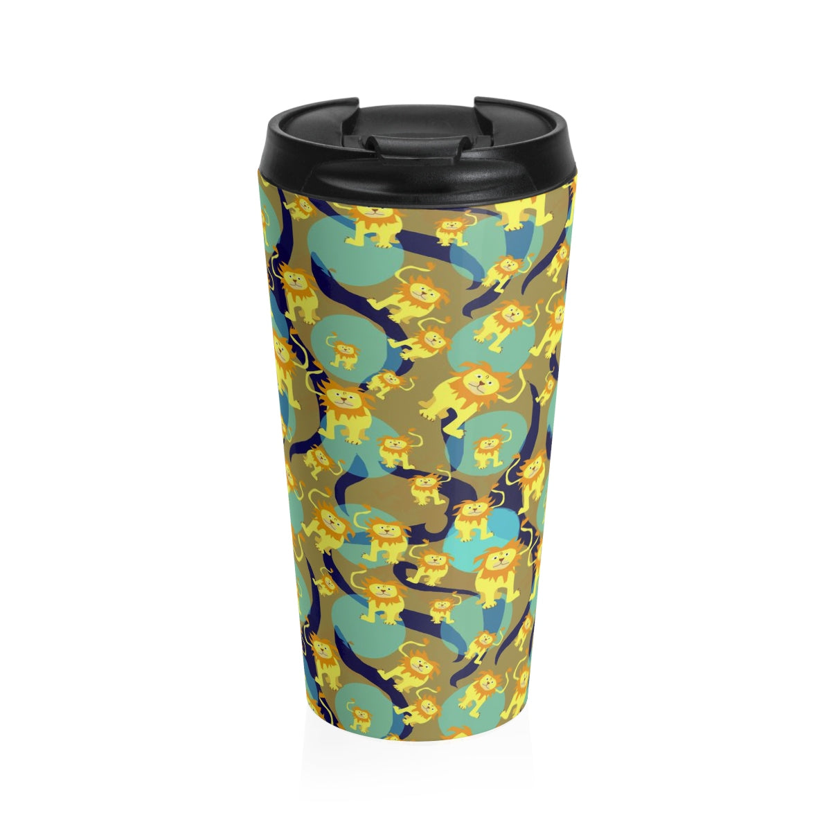 Lions Pattern Stainless Steel Travel Mug - expressive-flower-art-goods.myshopify.com