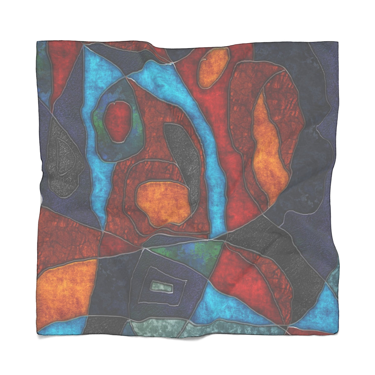 Abstract With Heart Poly Scarf - expressive-flower-art-goods.myshopify.com