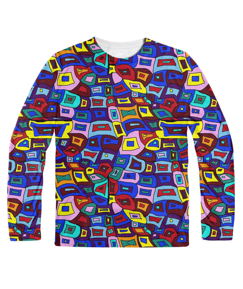 Wavy Squares Pattern Longsleeve Sublimation Long Sleeve