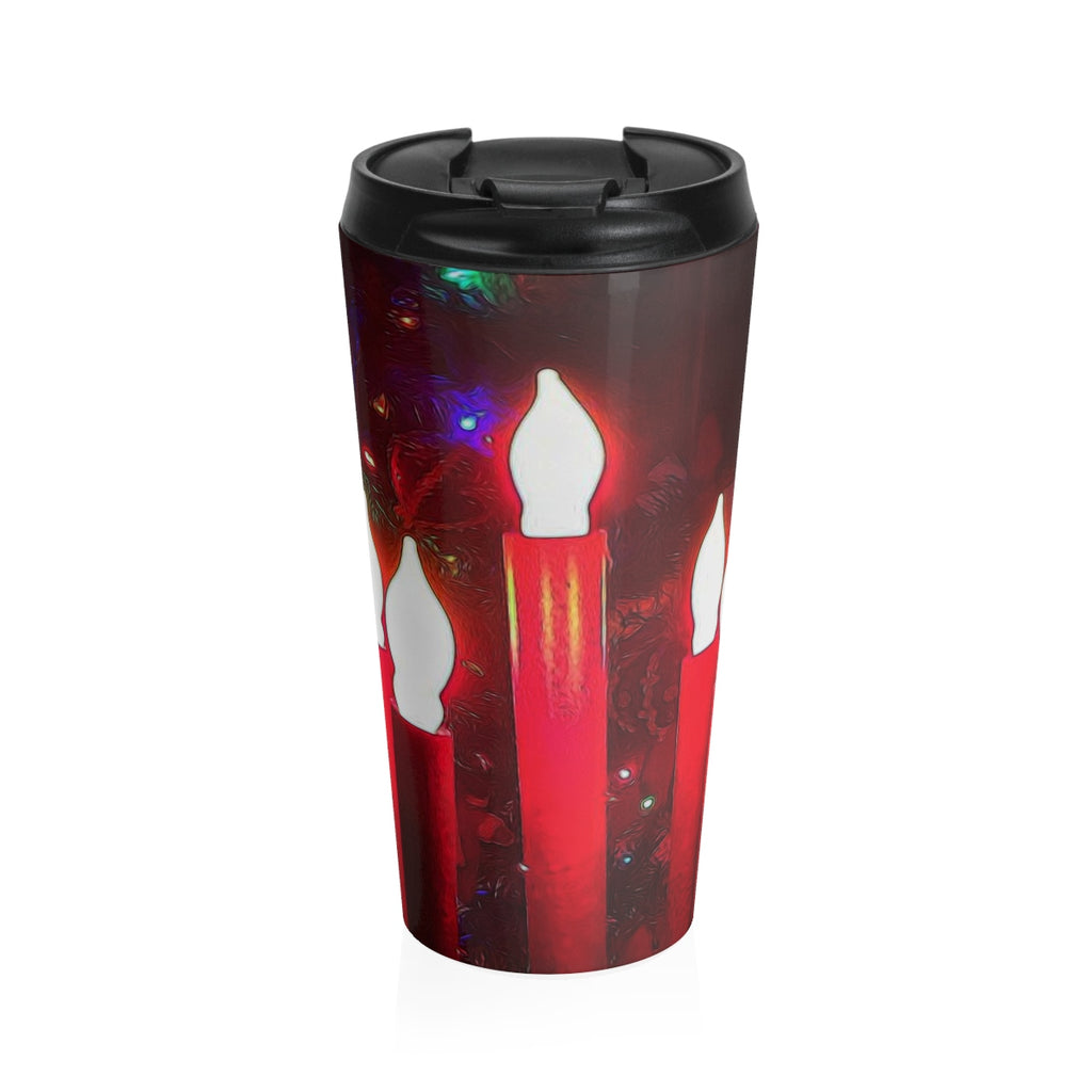 Christmas Tree and Candles Stainless Steel Travel Mug - expressive-flower-art-goods.myshopify.com