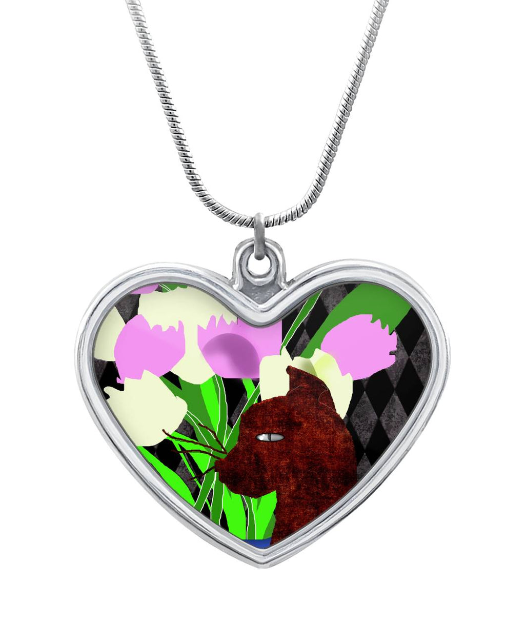 The Cat and The Tulips Heart Necklace