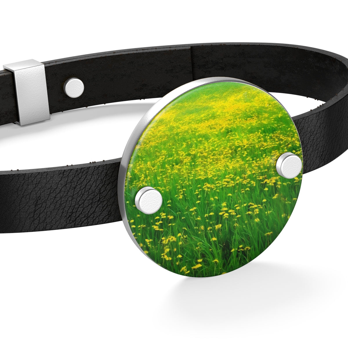 Dandelion Field Leather Bracelet - expressive-flower-art-goods.myshopify.com