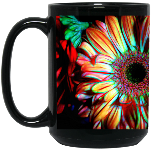 Flowers 133a 15 oz. Black Mug
