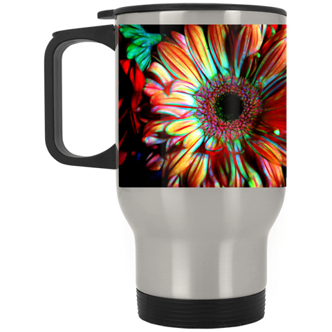 Flowers 133a  Silver Stainless Travel Mug