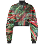 Red Green Garland Gabriel Held Cropped Bomber Jacket - expressive-flower-art-goods.myshopify.com
