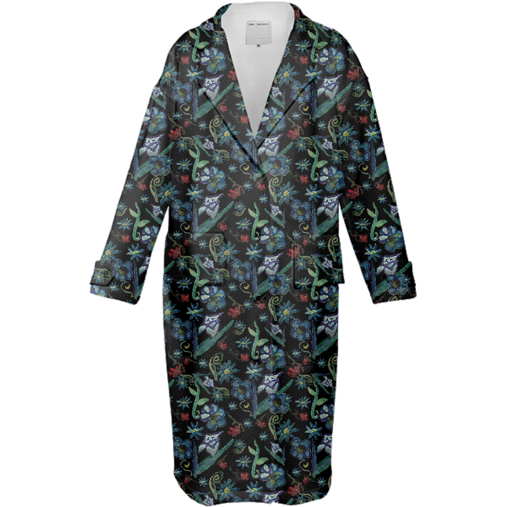 Watercolor Flowers On Black Neoprene Trench