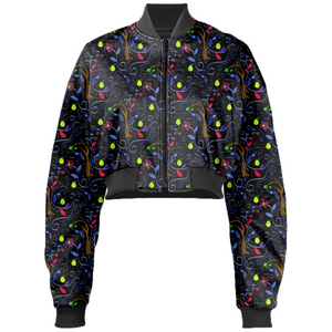 Birds And Scrolls Cropped Bomber Jacket