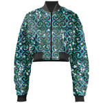 Blue Ice Sparkle Swirl Cropped Bomber Jacket