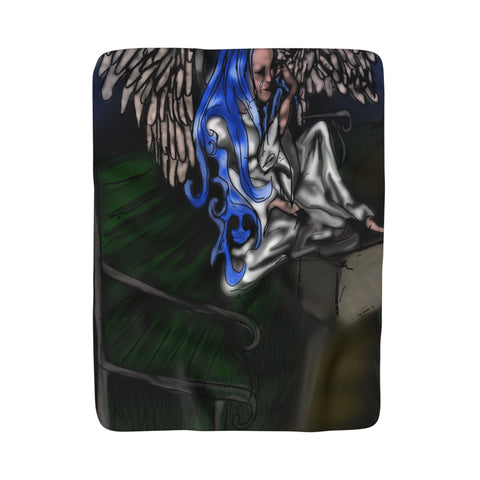Angel Dries Her Tears on a Park Bench Sherpa Fleece Blanket