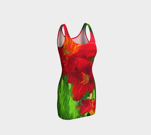 Red Lilies Green Grass Bodycon Dress