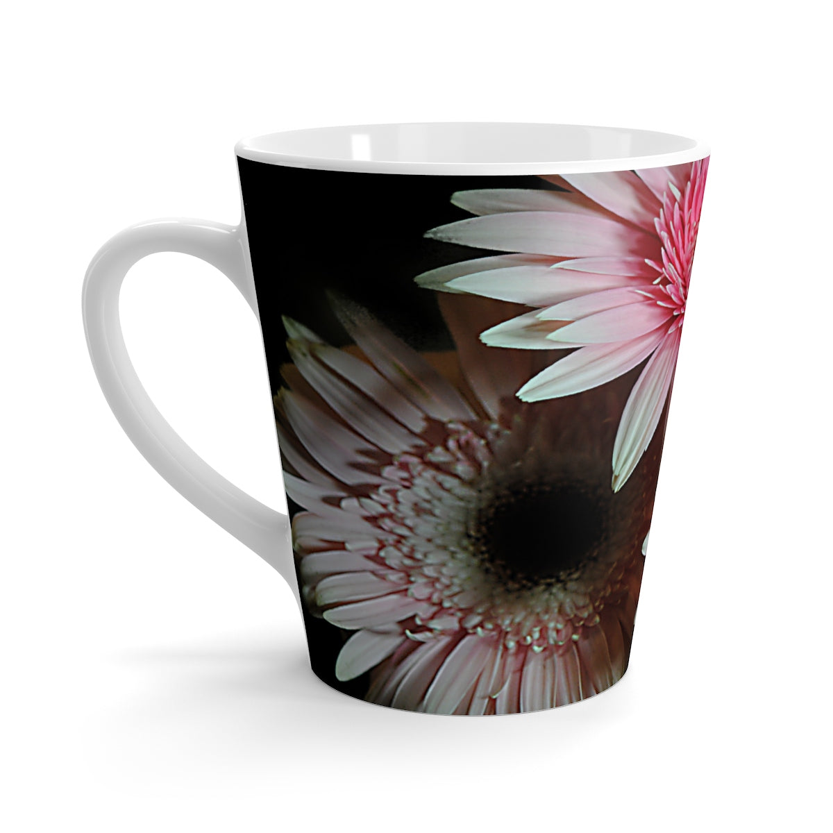 Three Pastel Pink Daisies Latte mug