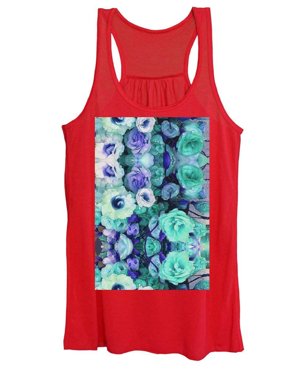 Aqua Flowers Kaleidoscope - Women's Tank Top