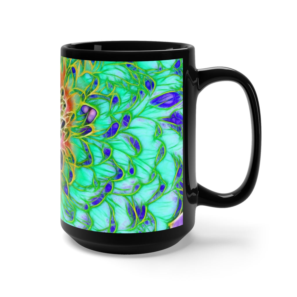 Abstract Chrysanthemum Black Mug 15oz