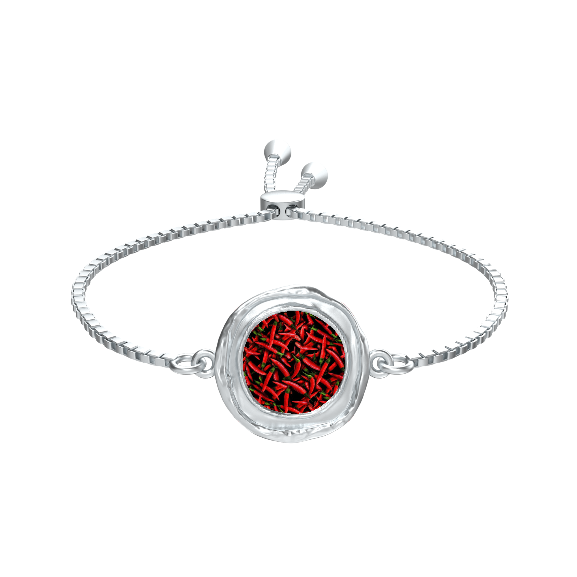 Red Chili Peppers Collage Coin Medallion Silver tie Bracelet