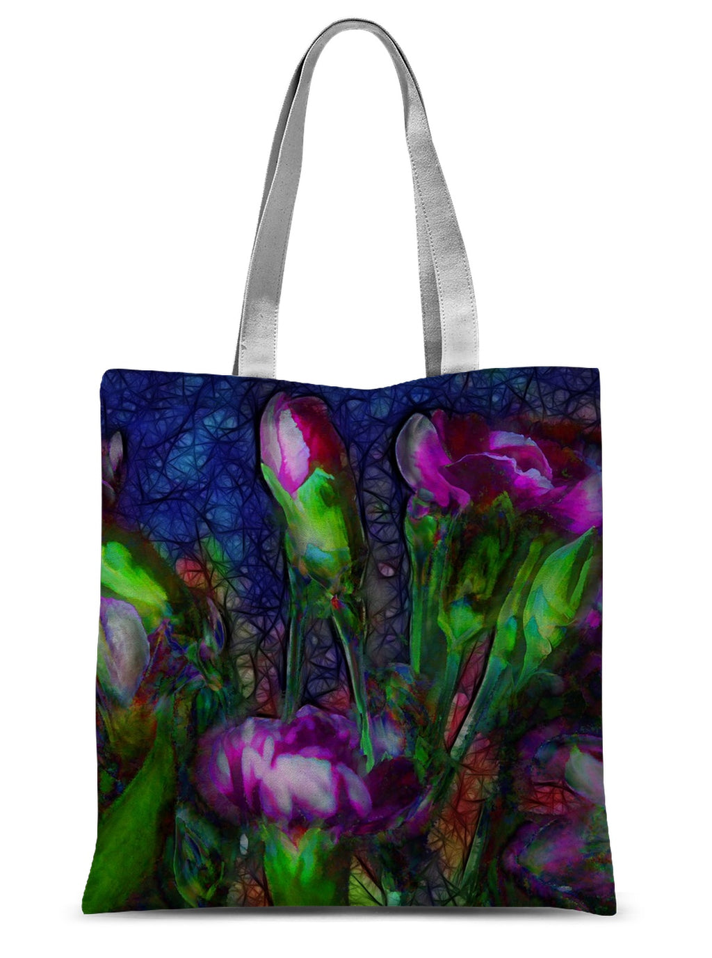 Abstract Pink Carnations Sublimation Tote Bag - expressive-flower-art-goods.myshopify.com