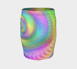 Pastel Rainbow Shell Fractal Fitted Skirt
