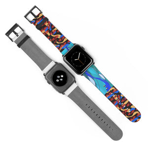 Dancing Crabs and Wavy Blue Watch Strap - expressive-flower-art-goods.myshopify.com