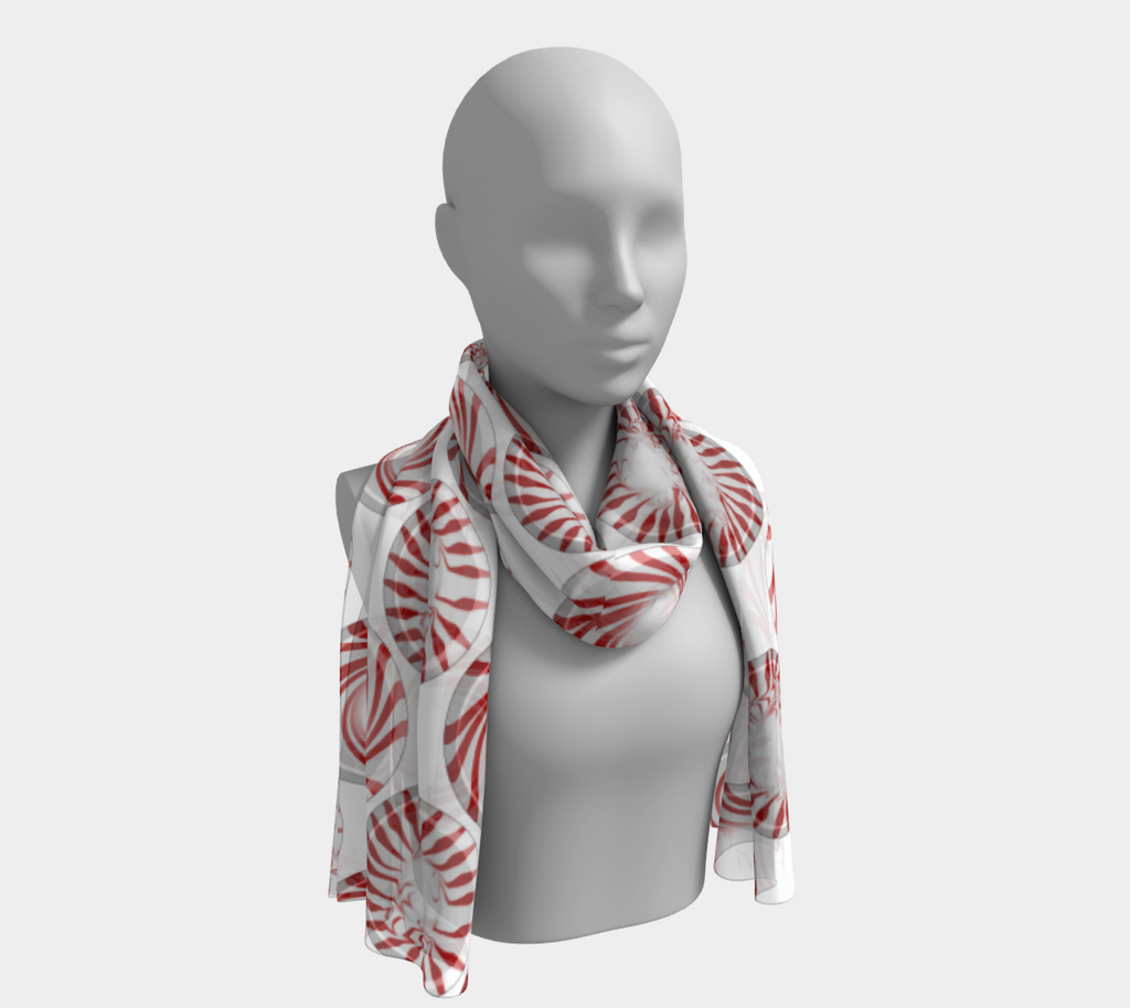 Peppermint Candy Dots Long Scarf - expressive-flower-art-goods.myshopify.com