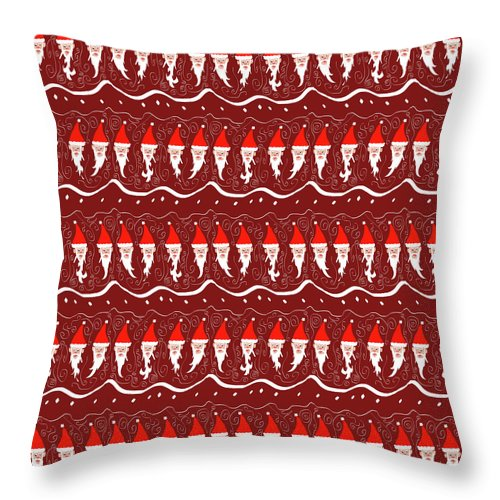 Bearded Santa Pattern - Throw Pillow