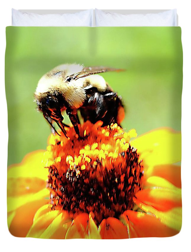 Bee On A Flower - Duvet Cover