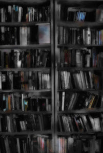 Black and White Bookshelves Digital Image Download