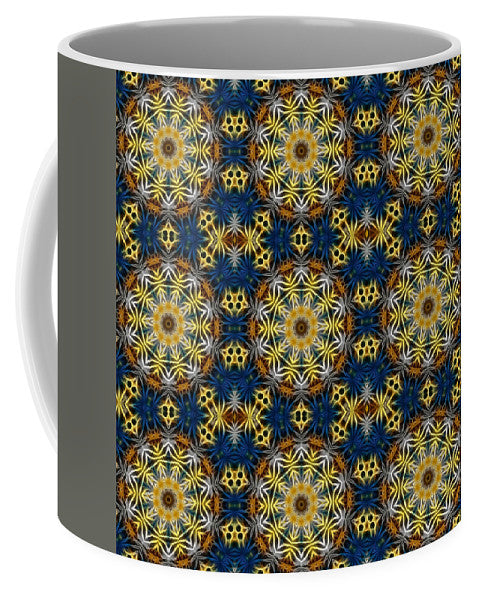 Blue And Yellow Kaleidoscope - Mug - expressive-flower-art-goods.myshopify.com
