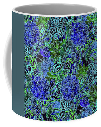 Blue Green Flower Pattern - Mug