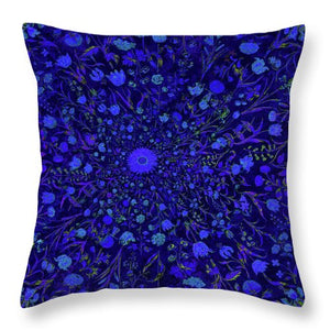 Blue Medieval Flowers  - Throw Pillow