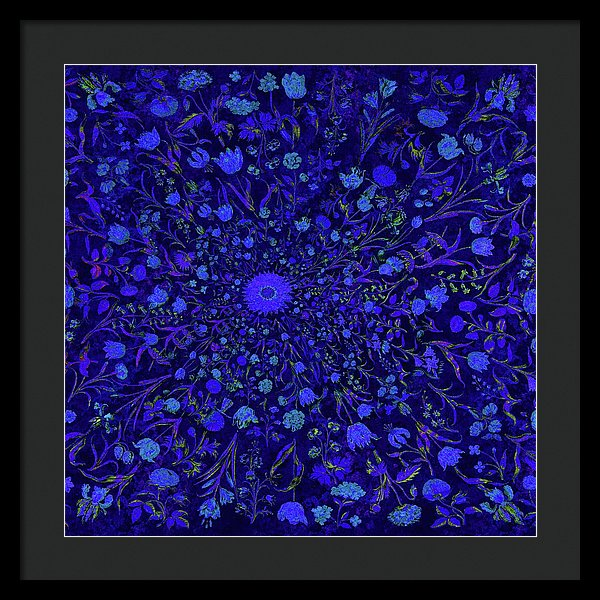 Blue Medieval Flowers  - Framed Print