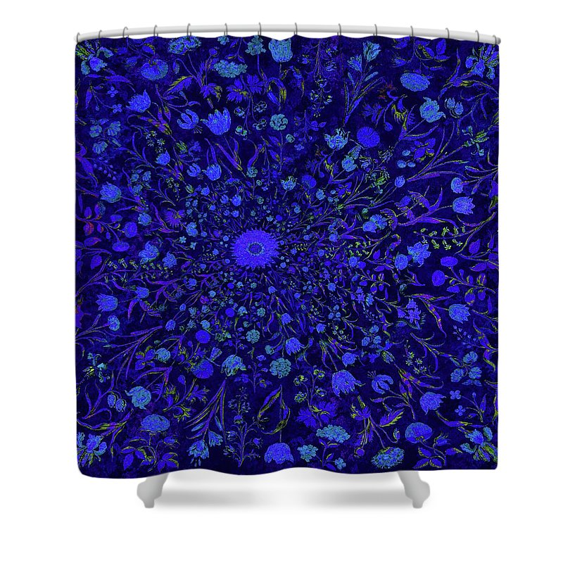 Blue Medieval Flowers  - Shower Curtain