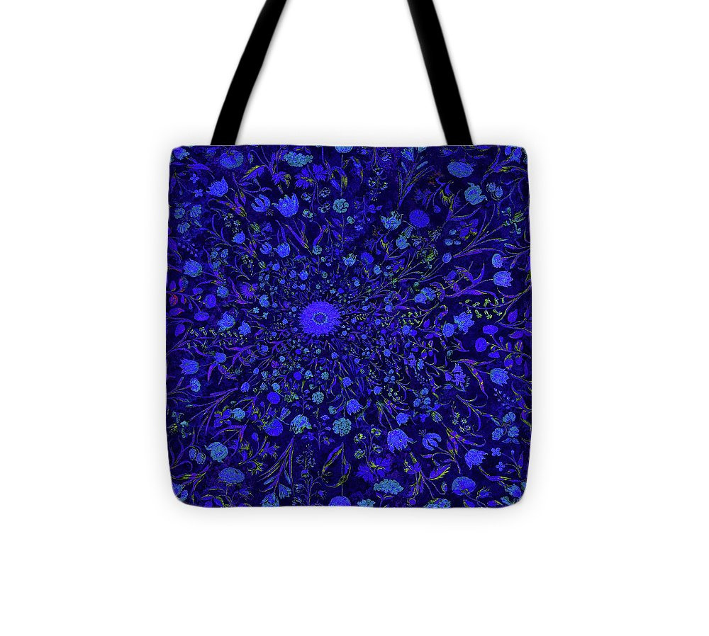 Blue Medieval Flowers  - Tote Bag
