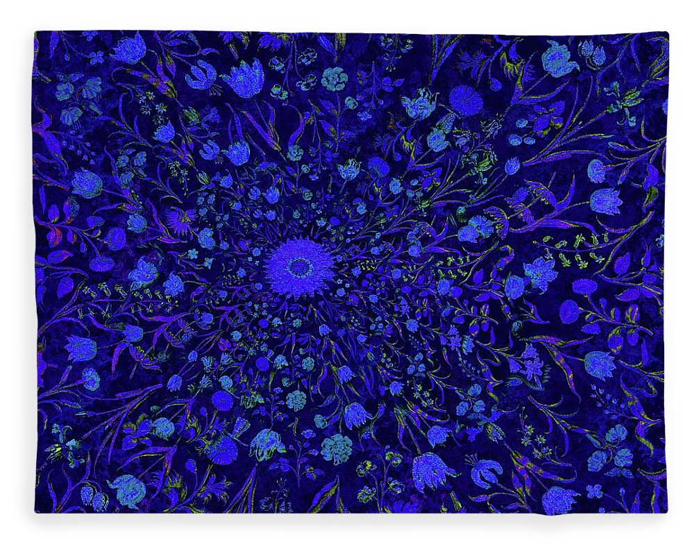 Blue Medieval Flowers  - Blanket