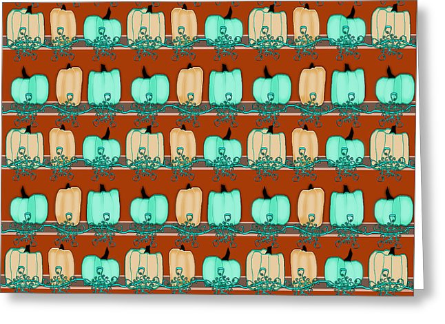 Bluegreen Pumpkins - Greeting Card