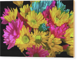 Bright Daisy Bouquet - Wood Print
