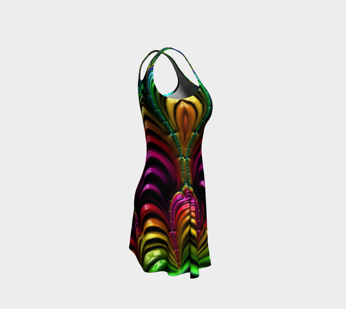 Curly rainbow Fractal Flare Dress - expressive-flower-art-goods.myshopify.com