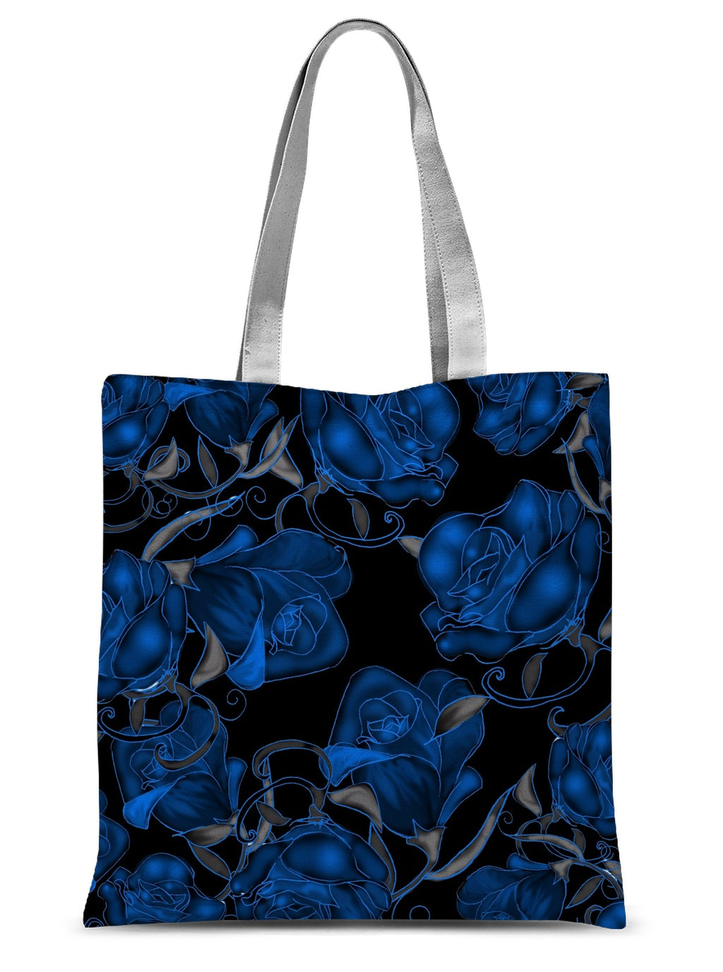 Blue Roses On Black Sublimation Tote Bag - expressive-flower-art-goods.myshopify.com