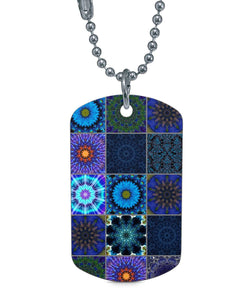 Blue Crazy Quilt Dog Tag Necklace Dog Tag