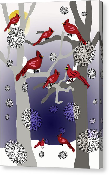 Cardinals In The Snow - Canvas Print