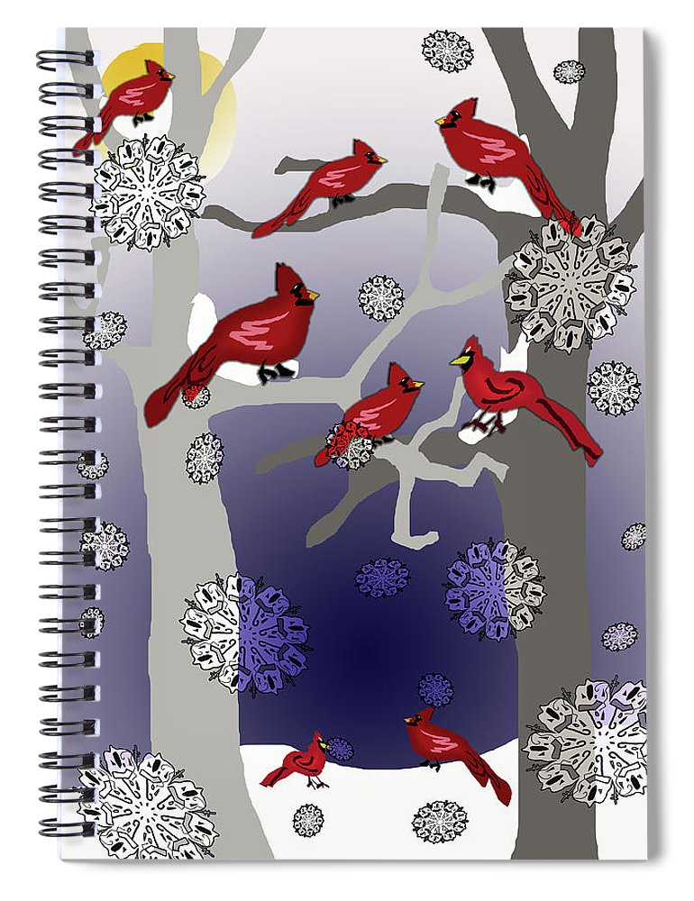 Cardinals In The Snow - Spiral Notebook