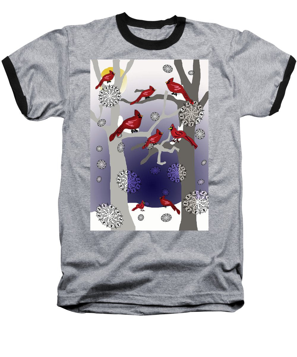Cardinals In The Snow - Baseball T-Shirt