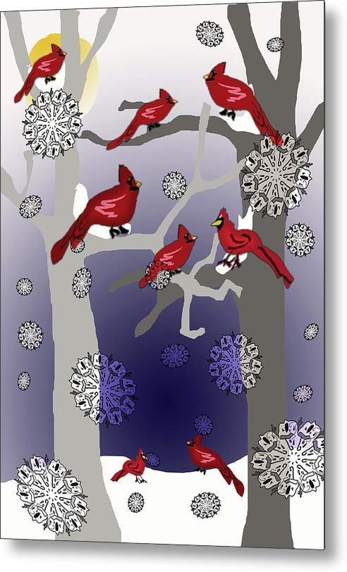 Cardinals In The Snow - Metal Print