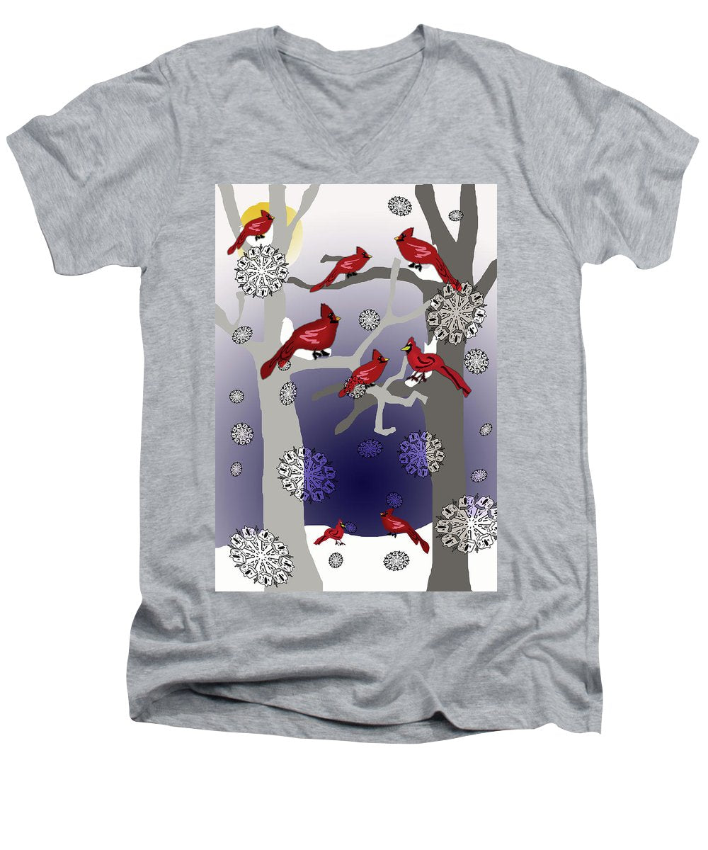 Cardinals In The Snow - Men's V-Neck T-Shirt