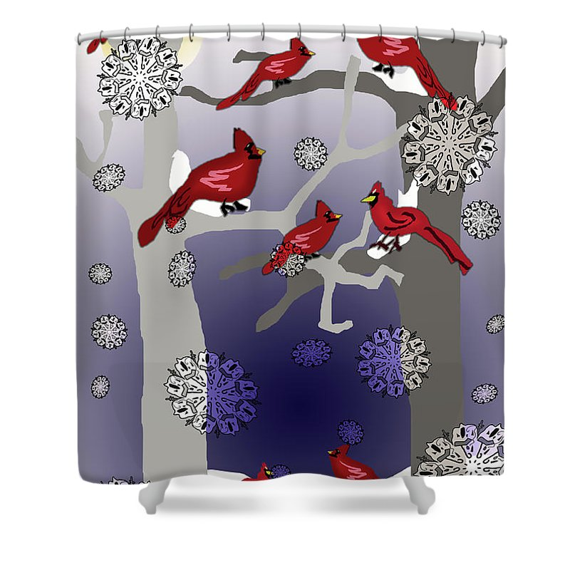 Cardinals In The Snow - Shower Curtain