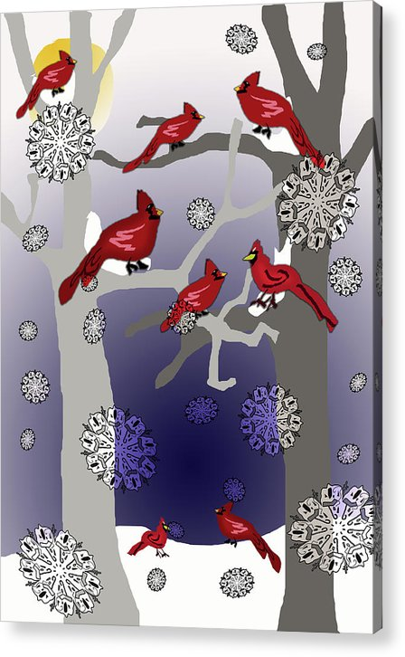 Cardinals In The Snow - Acrylic Print