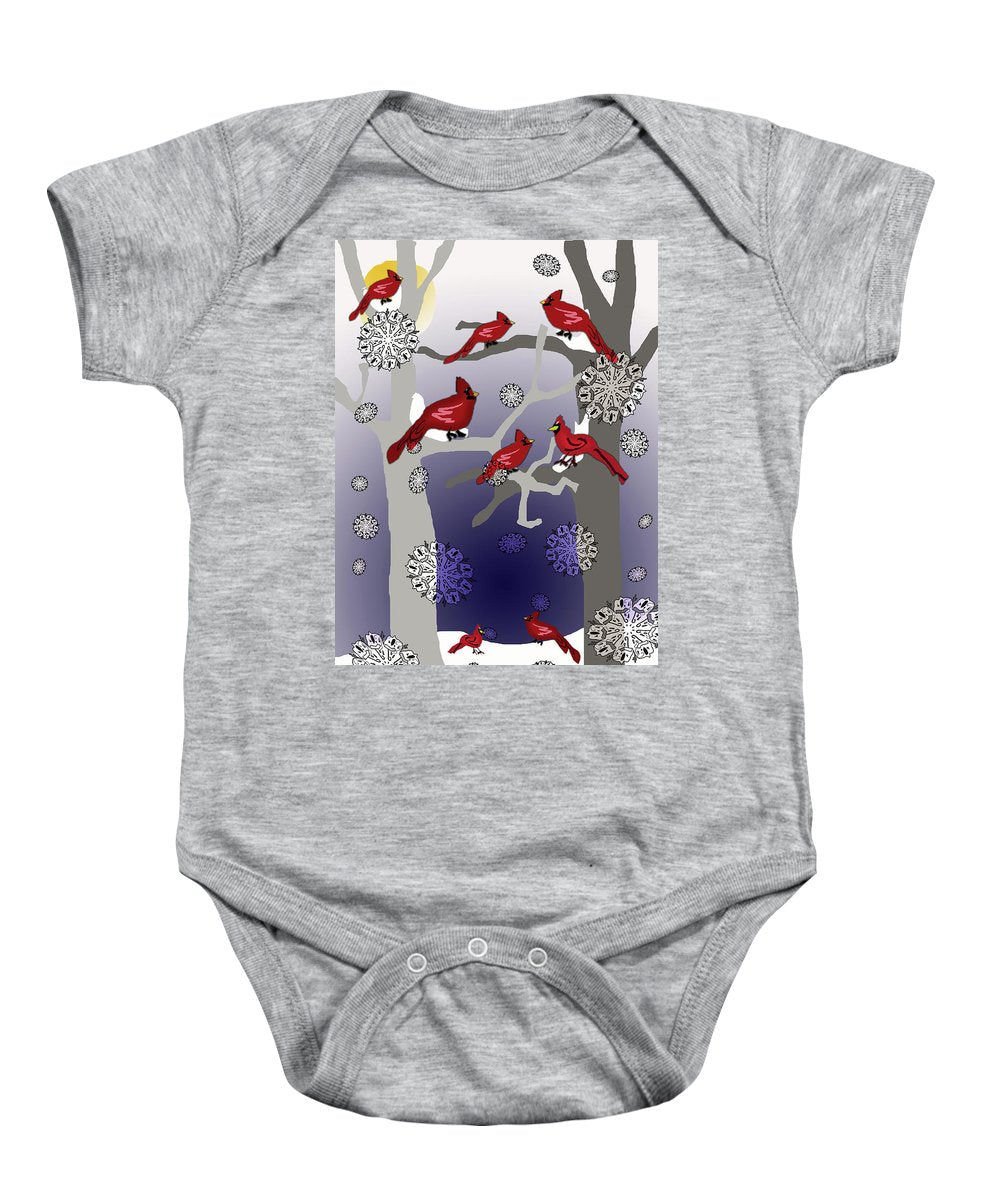 Cardinals In The Snow - Baby Onesie