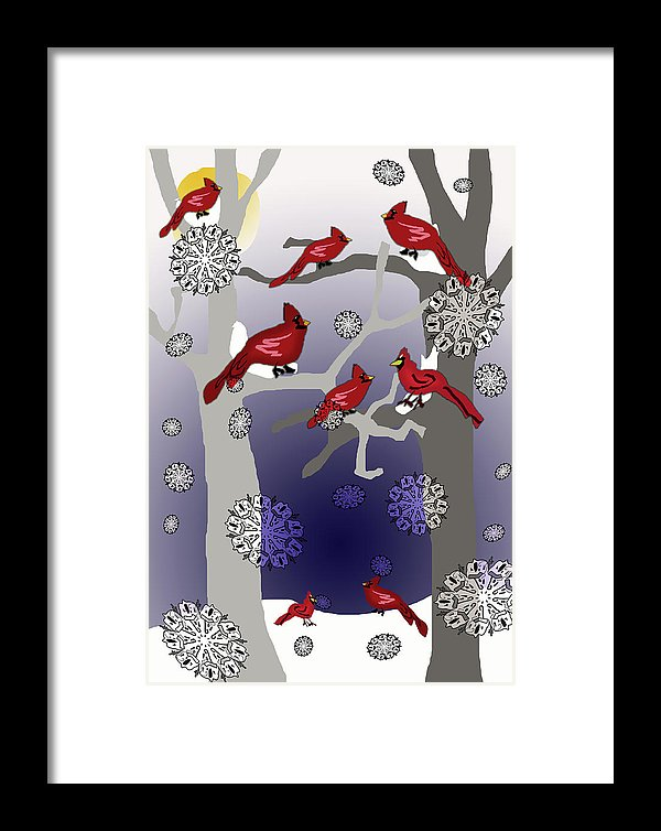 Cardinals In The Snow - Framed Print